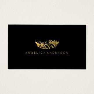 Tarjeta de visita elegante de la pluma del oro