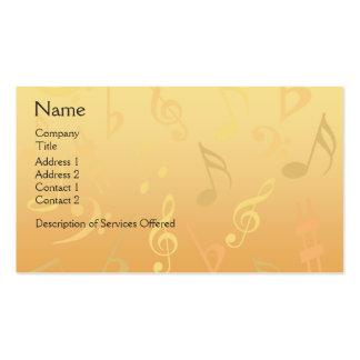 Tarjeta de visita elegante de las notas musicales