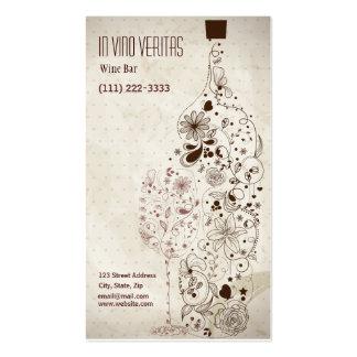Tarjeta de visita elegante del bar de vinos del