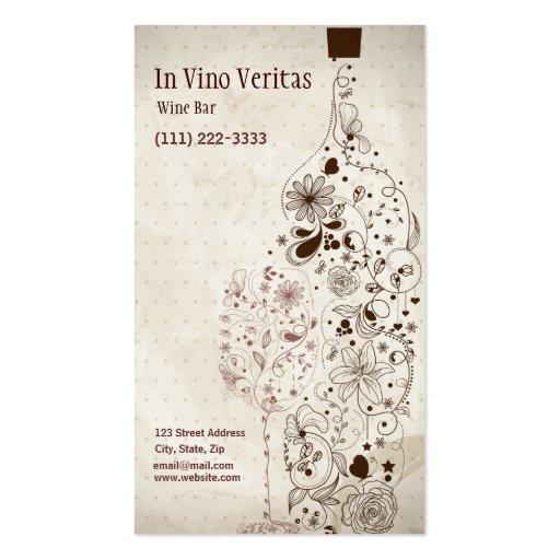 Tarjeta de visita elegante del bar de vinos del vi