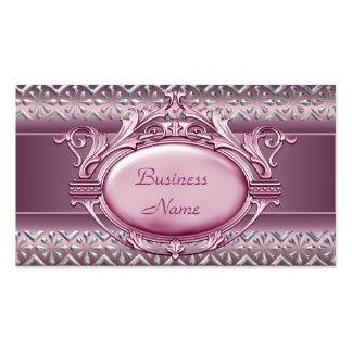 Tarjeta de visita elegante del borde de plata rosa