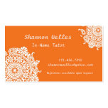 Tarjeta de visita elegante en anaranjado y blanco