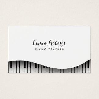 Tarjeta De Visita Elegante simple del teclado de piano del profesor