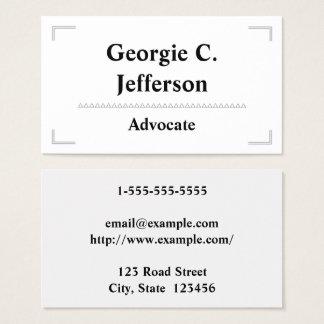 Tarjeta de visita elegante y simple del abogado