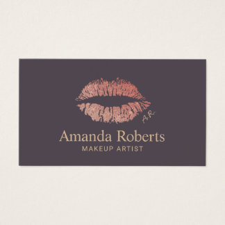 Tarjeta De Visita Encanto color de rosa moderno de los labios del