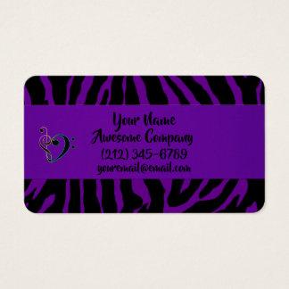 Tarjeta De Visita Estampado de animales exótico de la cebra púrpura