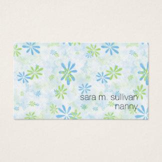 Tarjeta De Visita Estampado de flores simple del cuidado de niños de