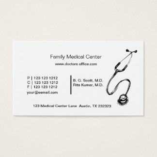 Tarjeta De Visita Estetoscopio médico blanco y negro del doctor
