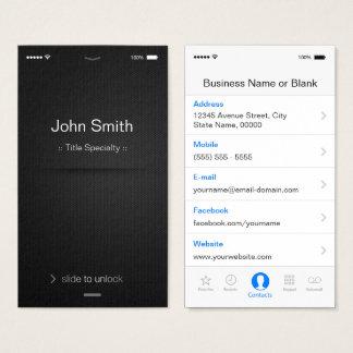 Tarjeta De Visita estilo del IOS del iPhone - blanco y negro
