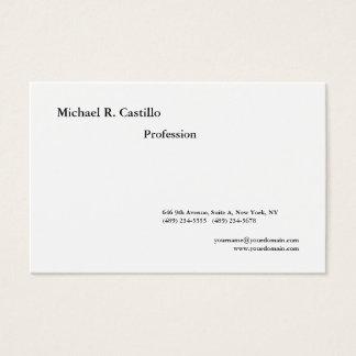 Tarjeta De Visita Estilo moderno minimalista blanco negro llano