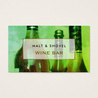 Tarjeta De Visita Exhibición de tres botellas, bar de vinos retro