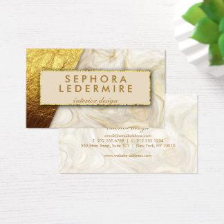 Tarjeta De Visita Falsa hoja de oro y diseñador de mármol blanco
