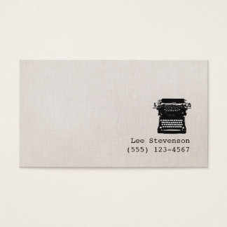 Tarjeta De Visita Falsa máquina de escribir de lino del vintage del