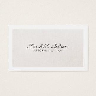 Tarjeta De Visita Falso beige ligero elegante de lino del abogado