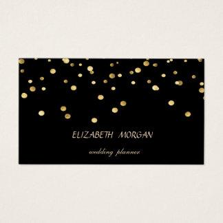 Tarjeta De Visita Falso confeti simple, negro elegante elegante del