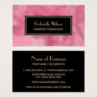 Tarjeta De Visita FALSO consultor de moda rosado glamoroso del