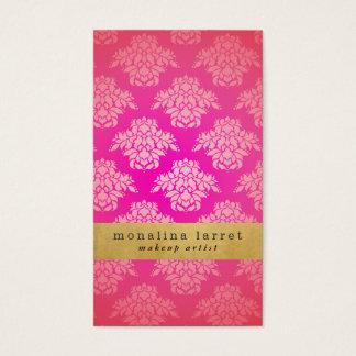Tarjeta De Visita Falso efecto metalizado de oro del modelo rosado