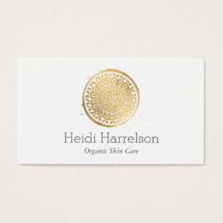 Tarjeta De Visita Falso oro de la belleza del logotipo elegante de