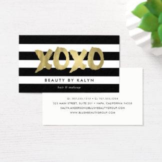 Tarjeta De Visita Falso oro de XOXO y artista de maquillaje de la
