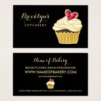 Tarjeta De Visita FALSO oro elegante Cupcakery y corazón rosado de