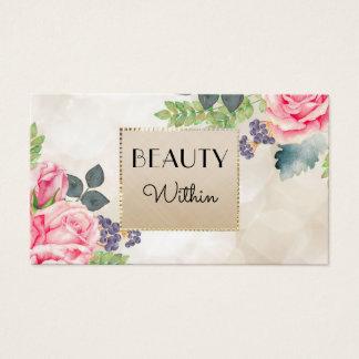 Tarjeta De Visita Falso oro floral color de rosa rosado elegante