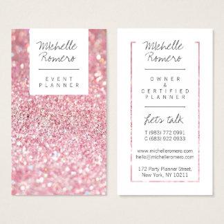 Tarjeta De Visita Falso planificador de eventos rosado femenino