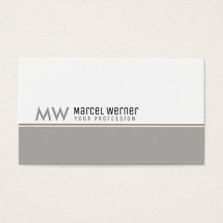 Tarjeta De Visita favorable con monograma blanco y gris con clase