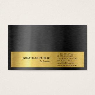 Tarjeta De Visita Final de seda llano gris del oro negro elegante