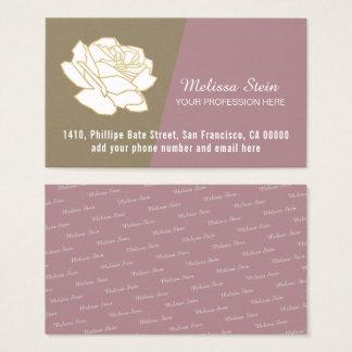 Tarjeta De Visita flor del blanco-rosa, femenino floral elegante