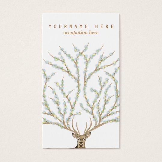 Tarjeta De Visita Floral antlers deer head woods god illustration