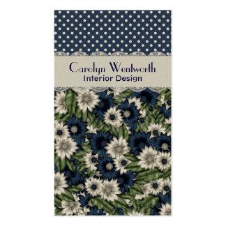 Tarjeta de visita floral azul y de marfil elegante