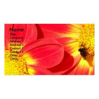 Tarjeta de visita floral de la foto de la abeja