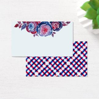 Tarjeta de visita floral de la tinta de los azules