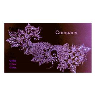 tarjeta de visita floral del mehndi violeta de la