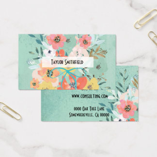 tarjeta de visita floral del papel pintado del