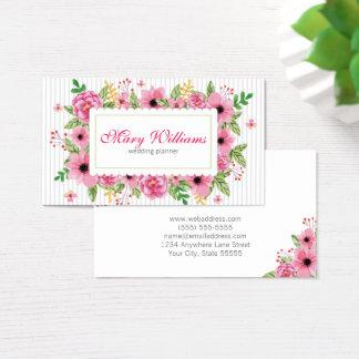 Tarjeta de visita floral del planificador del boda