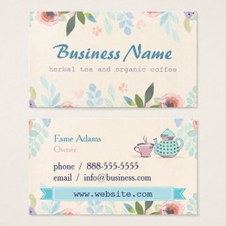 Tarjeta de visita floral del té