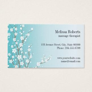 Tarjeta de visita floral del terapeuta del masaje