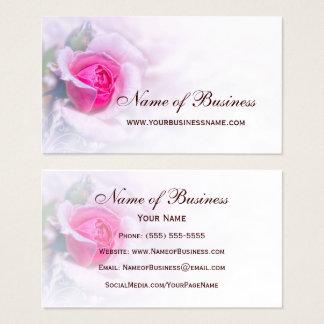 Tarjeta De Visita Floral elegante de la flor color de rosa rosada
