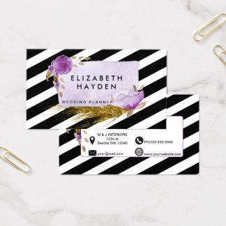 Tarjeta De Visita Tarjeta de visita floral púrpura de la hoja de oro