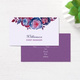Tarjeta de visita floral púrpura del rojo de