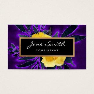 Tarjeta De Visita Florales amarillos de las flores, negros y