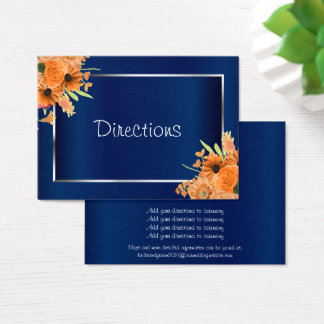 Tarjeta De Visita Flores anaranjadas bonitas en los azules marinos -