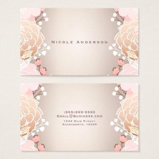 Tarjeta De Visita Flores botánicas florales modernas del rosa y del