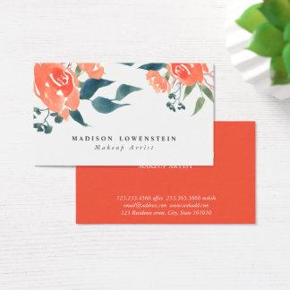 Tarjeta De Visita Flores brillantes del rosa rojo de la acuarela