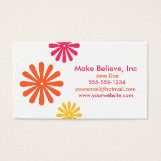 Tarjeta De Visita Flores rosadas coloridas del naranja y del