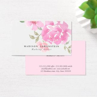 Tarjeta De Visita Flores rosadas de los Peonies de la acuarela