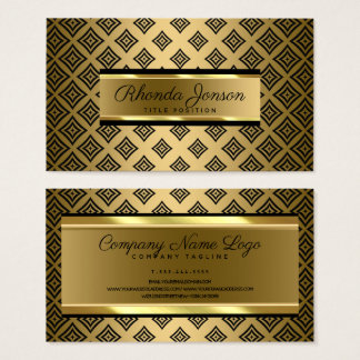 Tarjeta De Visita Fondo geométrico negro del oro de las formas