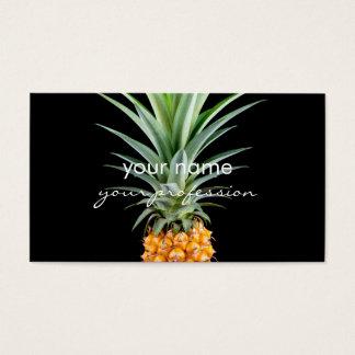 Tarjeta De Visita fondo negro minimalista elegante de la piña el |