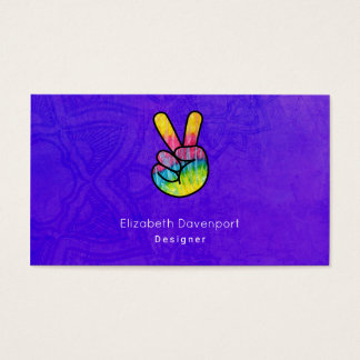Tarjeta De Visita Fondo púrpura ácido del signo de la paz de la mano